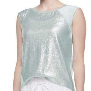 "NEW-ELIE TAHARI-""Terra"" Cap-Sleeve Glitter Blouse"